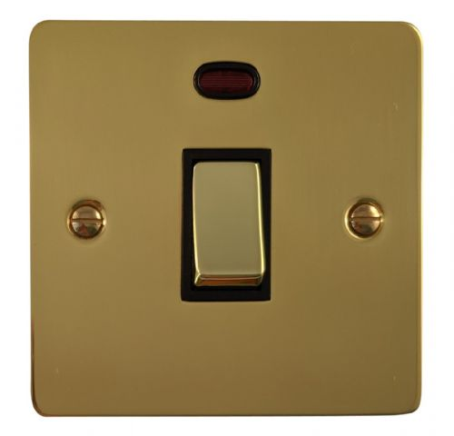 G&H FB326 Flat Plate Polished Brass 1 Gang 20 Amp Double Pole Switch & Neon